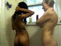 Lesbian Shower video on StupidCams