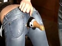 Shocking amateur fucks a champagne bottle in her ass video on StupidCams