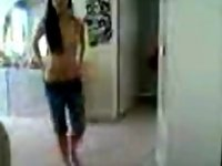 Asian girl undress infront of camera after bath video on StupidCams