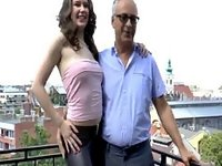 Teen bent over by old guy video on StupidCams