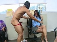 Office ladies sucking cock in their business skirts video on StupidCams