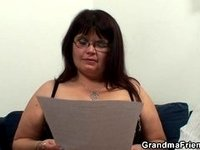 Her fat old pussy is nailed by two cocks video on StupidCams