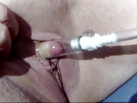 Pandora's clit ,her pump and BBQ tools up her video on StupidCams
