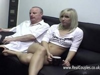 Old man cleans his girlfriends cummy asshole video on StupidCams