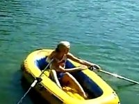 Adorable barely legal teen rubs one out on a raft video on StupidCams