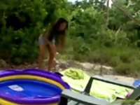 Hot babysitter undresses outside video on StupidCams