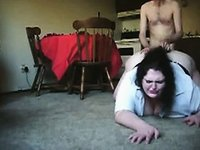 Skinny Guy Fucking Fat BBW Ex Girlfriend on the Floor video on StupidCams