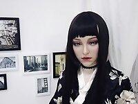 DMS female silicone Mask beauty Aglaia beauty kimono girl video on StupidCams