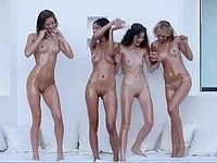 Four perfectly shaped sweeties in the pool video on StupidCams