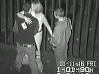 Security cam tapes a partyslut having a double penetration behind the club video on StupidCams