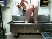 Amateur cam girl bates at work in sink video on StupidCams