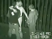 Security cam tapes a partyslut fucking 2 guys at the back of a building video on StupidCams