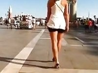 Hot sexy slut in the city center walking in high heel shoes video on StupidCams