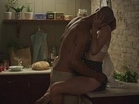 Passionate sex in a dark kitchen video on StupidCams
