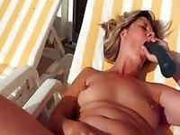 old women fucking woman sunbathes and masturbates the clitoris outdoor video on StupidCams