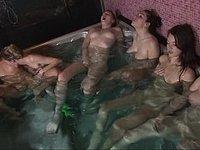 Six girls together in masturbation marathon video on StupidCams