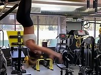 Kate Beckinsale working out upside down video on StupidCams