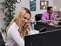 Blonde babe trying to earn a promotion video on StupidCams