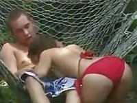 Ex-roomate and girlfriend fucking outside video on StupidCams