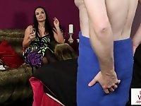 Stockinged femdom voyeur teasing her subject video on StupidCams