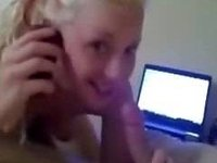 swallowing him with daddy on the phone video on StupidCams