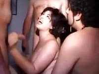 Chubby italian amateur milf gangbanged slutty video on StupidCams