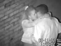 Hidden camera caught concupiscent pair in alley video on StupidCams