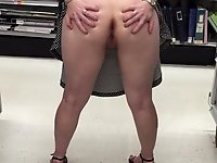 Proud slut spreads her asscheeks wide open in supermarket video on StupidCams