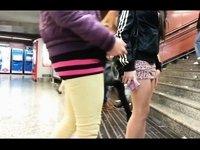 candid miniskirt high heels upskirt teen school video on StupidCams