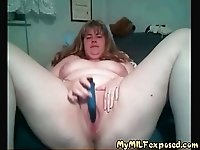My MILF Exposed pale BBW wife with vibrator video on StupidCams