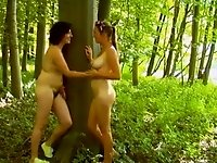 two lesb with wild forest video on StupidCams
